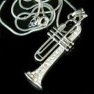 Swarovski Crystal Trumpet Musical Instrument Pendant Necklace