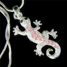 Pink Swarovski Crystal Newt Lizard Gecko Reptile Chain Necklace