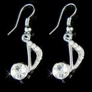 Quaver Eighth Note Music Musical Swarovski Crystal Earrings