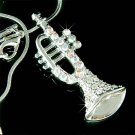 Classy Swarovski Crystal Trumpet  Charm Pendant Musical Necklace