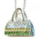 Green Night Out Handbag Purse Swarovski Crystal Pendant Necklace