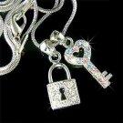 Key to My Heart Swarovski Crystal Love Lock Pendant Necklace