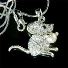 Gerbil Squirrel Mouse Hamster Swarovski Crystal Pearl Necklace