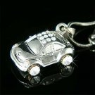 3D VW Beetle Volkswagen Car Swarovski Crystal Pendant Necklace