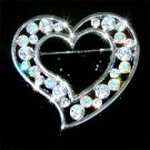 Swarovski Crystal Floating Heart Love Valentine Bridal Brooch