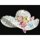 Sparkling Flower Lady Hat Swarovski Crystal Brooch
