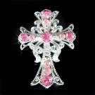 Christening Jesus Christ Cross Swarovski Rose Crystal Brooch