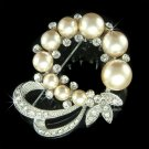 Cream White Pearl Flower Wreath Swarovski Crystal Brooch