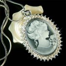 Swarovski Crystal Classy Black Cameo Sparkling Pendant Necklace