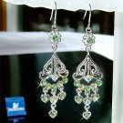 Green Swarovski Crystal Bridal Wedding Dangle Heart Earrings