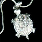 Swarovski Crystal Sea Turtle Tortoise Wildlife Pendant Necklace