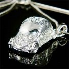 3D Volkswagen Car VW Beetle Swarovski Crystal Pendant Necklace
