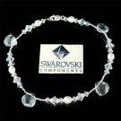 Freshwater Pearl Sterling Silver Swarovski Crystal Drop Anklet