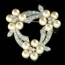Swarovski Crystal Bridal Cream White Pearl Flower Wreath Brooch