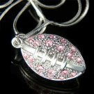 Swarovski Crystal 3D Pink American Football Pendant Necklace New