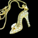 Swarovski Crystal Glass Cinderella Slippers High Heel Necklace