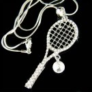 Swarovski Crystal Tennis Racket Racquet & Ball Pendant Necklace