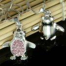 Pink Swarovski Crystal Antarctica Bird Penguin Pendant Necklace