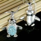Blue Swarovski Crystal Penguin Antarctica Bird Pendant Necklace