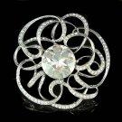 "3"" Huge Bridal Swarovski Crystal Round Cutout Flower Pin Brooch"