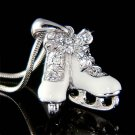 Swarovski Crystal 3D White Ice Skating Shoes Hockey Necklace New
