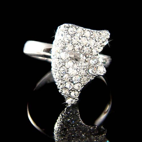 Swarovski Crystal Phantom of the Opera Masquerade Mask Ring New