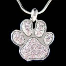 Swarovski Crystal Purple Dog Cat Paw Print Pawprint Necklace New