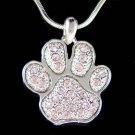 Swarovski Crystal Purple Dog Cat Paw Print Pawprint Necklace New