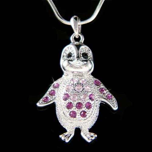 Swarovski Crystal Purple Baby Emperor Penguin Pendant Necklace