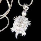 Swarovski Crystal Cute Tortoise Turtle Cross Pendant Necklace