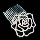 Swarovski Crystal Cut Out Rose Flower Floral Hair Comb Jewelry