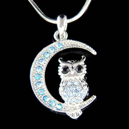 Swarovski Crystal Blue Owl on Crescent Moon Pendant Necklace New