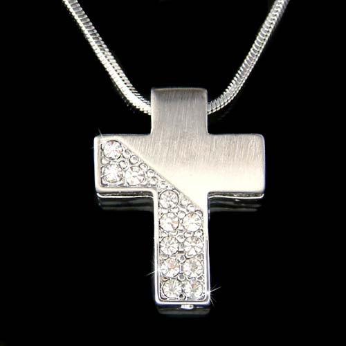 Swarovski Crystal Modern Cross Jesus Christ Religious Necklace