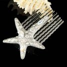 Swarovski Crystal Modern Bridal Beach Wedding Starfish Hair Comb