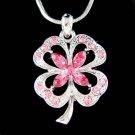 Swarovski Crystal Pink 4 Leaf Clover Lucky Shamrock Necklace New