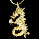 Swarovski Crystal Gold Dragon Fairy Myth Chinese Charm Necklace