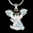 Swarovski Crystal Blue Australian Koala Bear Pendant Necklace