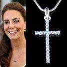 Swarovski Crystal Blue Cross Necklace Religious Girls Jewelry
