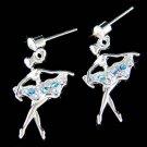 Swarovski Crystal Blue The Nutcracker Ballet Ballerina Girls Earrings
