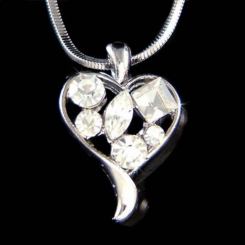 Swarovski Crystal Cute Dainty Love Heart Valentine's Pendant Necklace