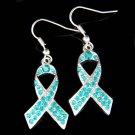 Teal Swarovski Crystal Ovarian Cervical Cancer Ribbon Dangle Earrings