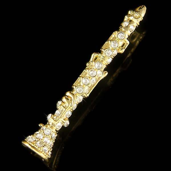 Swarovski Crystal Woodwind Clarinet Music Instrument Brooch Jewelry