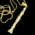 Swarovski Crystal Gold Woodwind Clarinet Music Instrument Necklace