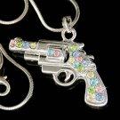 Swarovski Crystal Pastel Hand Gun Pistol Charm Pendant Necklace