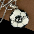 Black White Enamel Paint Soccer Ball Charm Pendant Unisex Necklace New