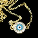 Gold Swarovski Crystal Ward Off Round Evil Eye Protection Necklace