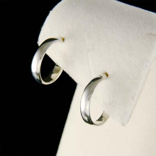 "1/2"" (13mm) Dainty Celebrity Rhodium Plated Semi Hoop Earrings"