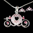 Swarovski Crystal Pink Pumpkin Cinderella Carriage Necklace Earrings