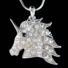 Swarovski Crystal Fairy Tale Unicorn Pegasus Horse Wing Charm Necklace