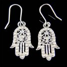 Swarovski Crystal Filigree Jewish Hamsa Hand Evil Eye Hamesh Earrings